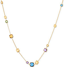 EFFY® Multi-Gemstone Adjustable Statement Necklace (12 ct. t.w.) in 14k Gold