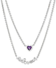 "Amethyst (3/8 ct. t.w.) & White Topaz (1/8 ct. t.w.) ""Love"" Layered 17"" Pendant Necklace in Sterling Silver"