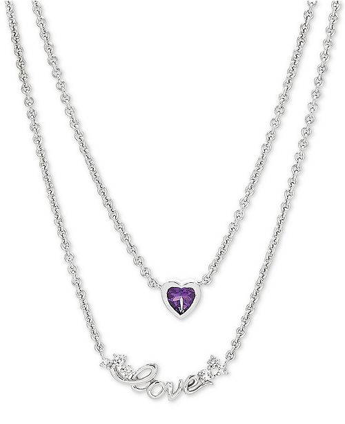 "Macy's Amethyst (3/8 ct. t.w.) & White Topaz (1/8 ct. t.w.) ""Love"" Layered 17"" Pendant Necklace in Sterling Silver"