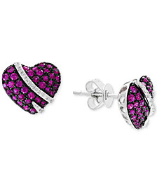 EFFY® Ruby (3/4 ct. t.w.) & Diamond (1/10 ct. t.w.) Heart Stud Earrings in 14k White Gold