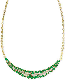 "EFFY® Emerald (8-3/4 ct. t.w.) & Diamond (5/8 ct. t.w.) 18"" Collar Necklace in 14k Gold"