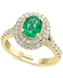 EFFY® Emerald (1-1/8 ct. t.w.) & Diamond (3/4 ct. t.w.) Ring in 14k Gold