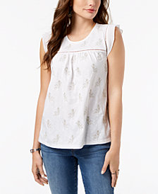 Style & Co Petite Embroidered Ladder-Trim Top, Created for Macy's