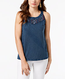 Style & Co Petite Sleeveless Embroidered Top, Created for Macy's