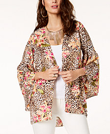 Thalia Sodi Mixed-Print Open-Front Kimono, Created for Macy's