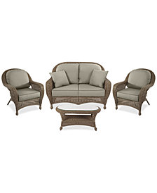 Sandy Cove Outdoor Wicker 4-Pc. Seating Set (1 Loveseat, 2 Club Chairs and 1 Coffee Table) Custom Sunbrella®, Created for Macy's