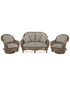 Sandy Cove Outdoor Wicker 3-Pc. Seating Set (1 Loveseat and 2 Swivel Gliders) Custom Sunbrella®, Created for Macy's