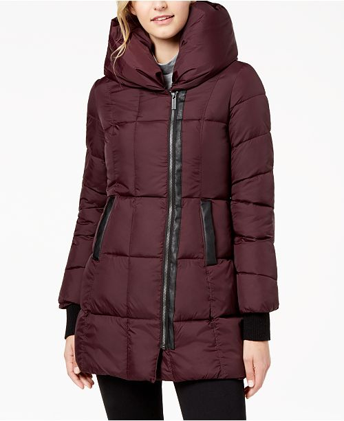 6f001a7d0d5 French Connection Faux-Leather-Trim Hooded Puffer Coat   Reviews ...