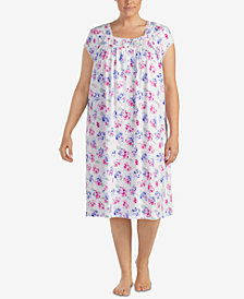 Eileen West Waltz Plus Size Lace-Trim Knit Nightgown