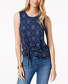 Lucky Brand Tie-Waist Printed Top