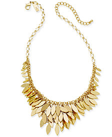 "I.N.C. Gold-Tone Layered Leaf Statement Necklace, 17"" + 3""extender, Created for Macy's"
