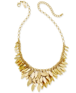 """I.n.c. Gold-Tone Layered Leaf Statement Necklace, 17"""" + 3""""extender, Created for Macy's"""