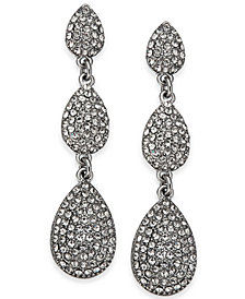I.N.C. Silver-Tone Pavé Triple Drop Earrings, Created for Macy's