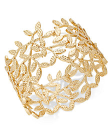 I.N.C. Gold-Tone Leaf Stretch Bracelet, Created for Macy's