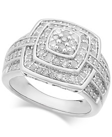 Diamond Cushion Cluster Ring (1 ct. t.w.) in Sterling Silver