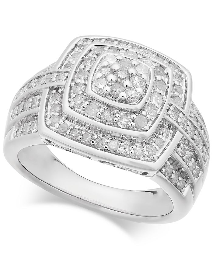Macy's - Diamond Cushion Cluster Ring (1 ct. t.w.) in Sterling Silver
