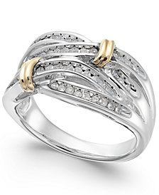 Diamond Multi-Row Ring in 14k Gold and Sterling Silver (1/4 ct. t.w.)