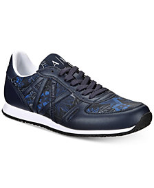 A|X Armani Exchange Men's Athletic Sneaker with Tropic Print