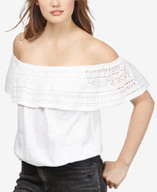 Lucky Brand Cotton Crochet-Detail Off-The-Shoulder Top
