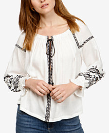 Lucky Brand Embroidered Ruffled-Sleeve Top