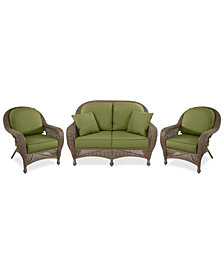 Sandy Cove Outdoor Wicker 3-Pc. Seating Set (1 Loveseat and 2 Club Chairs) Custom Sunbrella®, Created for Macy's