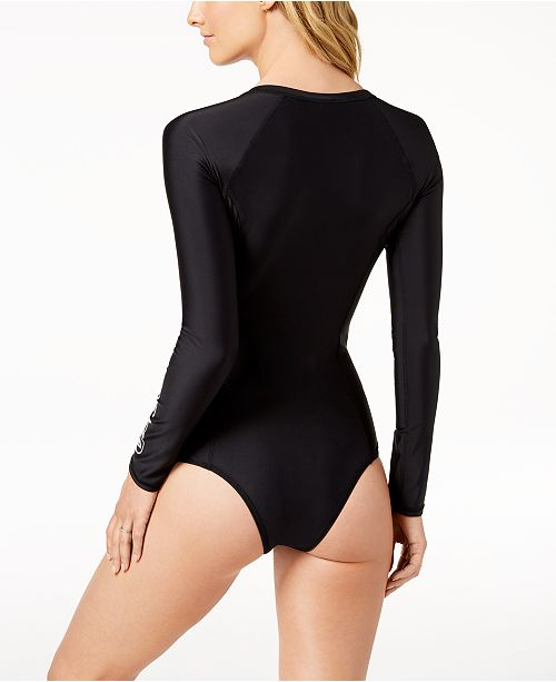 81fd6893c0637 ... Volcom Juniors' Simply Solid Long-Sleeve One-Piece Swimsuit ...