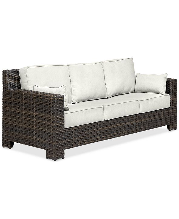 Furniture Viewport Wicker Outdoor Sofa: with Custom Sunbrella® Colors, Created for Macy's