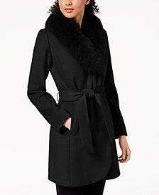 Forecaster Fox-Fur-Trim Belted Wrap Coat