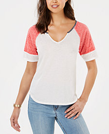 Hippie Rose Juniors' Colorblocked Burnout Football T-Shirt