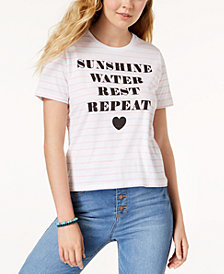 Mighty Fine Juniors' Sunshine Striped Graphic T-Shirt