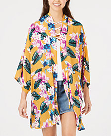 Say What? Juniors' Floral-Printed Tie-Front Kimono