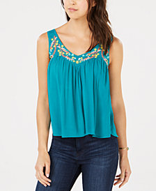Self Esteem Juniors' Sleeveless Embroidered Top