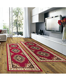 KM Home Prato Kerman Red 2-Pc. Runner Rug Set