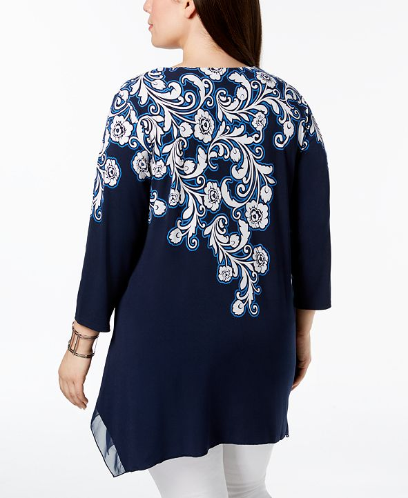 JM Collection Short-Sleeve Foil Print Top, Created for