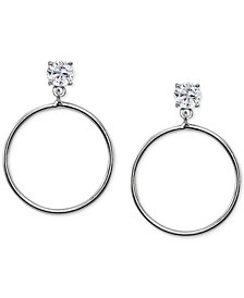 "Giani Bernini Large Cubic Zirconia Drop Hoop Earrings in Sterling Silver, 1.7"", Created for Macy's"
