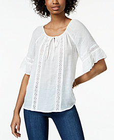 BCX Juniors' Crochet-Trim Peasant Top
