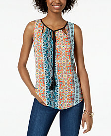 BCX Juniors' Sleeveless Printed Tassel Top
