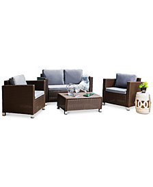 Flagg 4-Pc. Outdoor Patio Sofa Set, Quick Ship