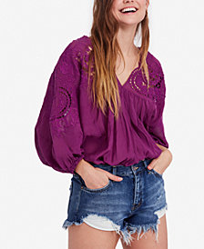 Free People Cotton Embroidered Cutout-Pattern Top