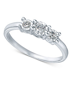 Diamond 3-Stone Promise Ring in 10k White Gold (1/4 ct. t.w.)