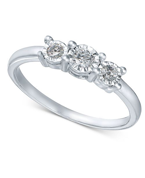 f7141cc26a622 Diamond 3-Stone Promise Ring in 10k White Gold (1/4 ct. t.w.)