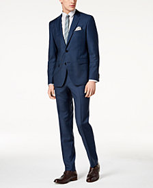 HUGO Men's Modern-Fit Stretch Navy Plaid Suit