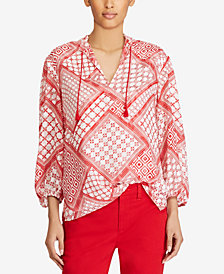 Lauren Ralph Lauren Printed Tassel-Tie Top