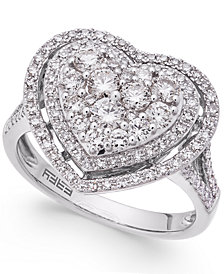 EFFY® Pavé Classica Diamond Heart Ring (1-1/8 ct. t.w.) in 14k White Gold