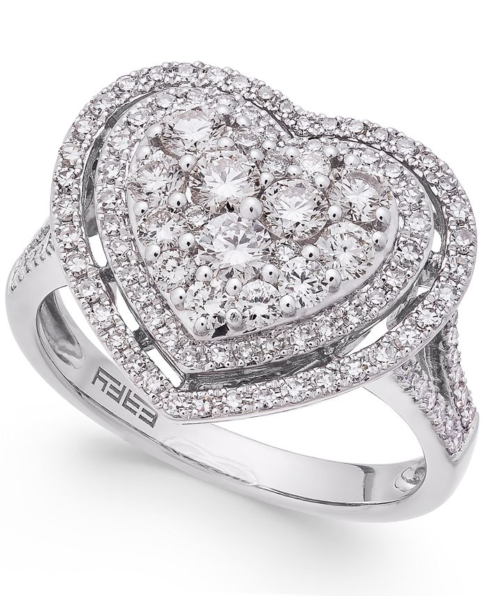 EFFY Collection - Diamond Heart Ring (1-1/8 ct. t.w.) in 14k White Gold