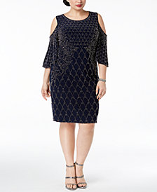 XSCAPE Plus Size Beaded Cold-Shoulder Sheath Dress