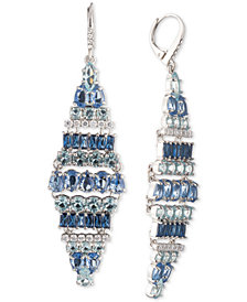 Carolee Silver-Tone Crystal & Stone Tile Chandelier Earrings