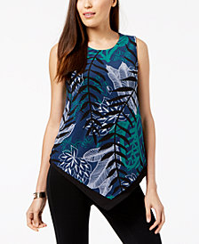Alfani Petite Contrast-Hem Asymmetrical Top, Created for Macy's