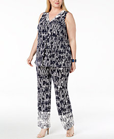 Alfani Plus Size Printed Draped V-Neck Tank & Pull-On Printed Pants, Created for Macy's