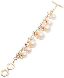 Carolee Gold-Tone Crystal & Imitation Pearl Flex Bracelet